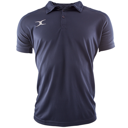Gilbert Rugby Vapour Polo Shirt Dark Navy Front View