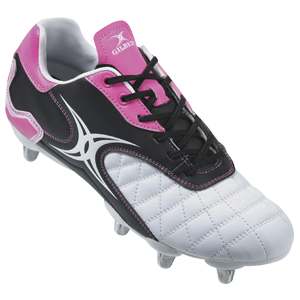 Gilbert Rugby Sidestep Revolution White Pink Boot
