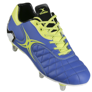 Gilbert Rugby Sidestep Revolution 6 Stud Blue Yellow Boot