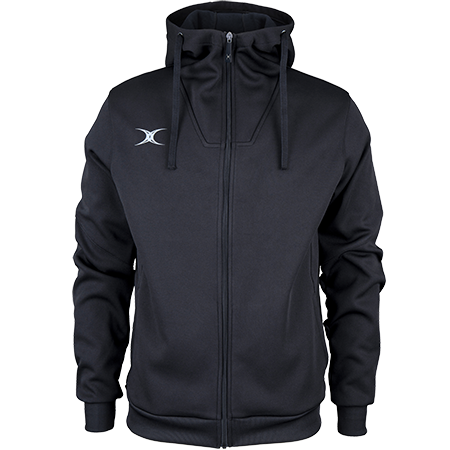 Gilbert Rugby Clothing Pro Technical Hoodie Full Zip Black, Front