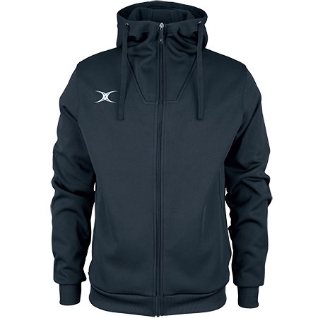 Gilbert Rugby Clothing Pro Technical Hoodie Full Zip Dark Navy, Front