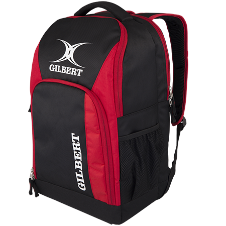 Gilbert Rugby Club Rucksack V3 Blk-red Front