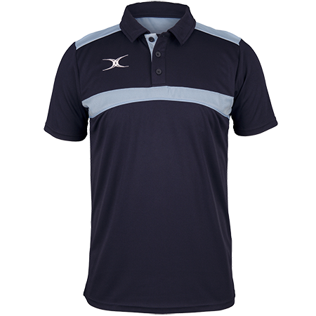 Gilbert Rugby Clothing Photon Mens Polo Dark Navy & Sky Front
