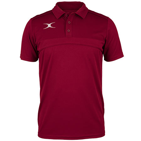 Gilbert Rugby Clothing Photon Mens Polo Maroon Front