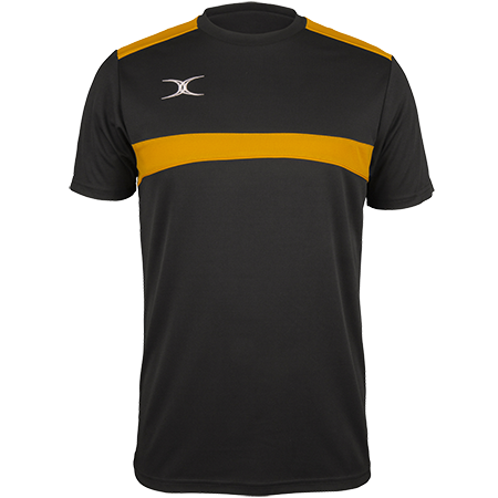 Gilbert Rugby Clothing Photon Mens Tee Black & Gold Front