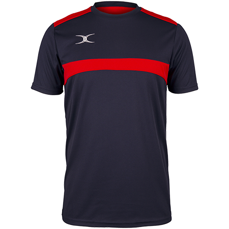Gilbert Rugby Clothing Photon Mens Tee Dark Navy & Red Front