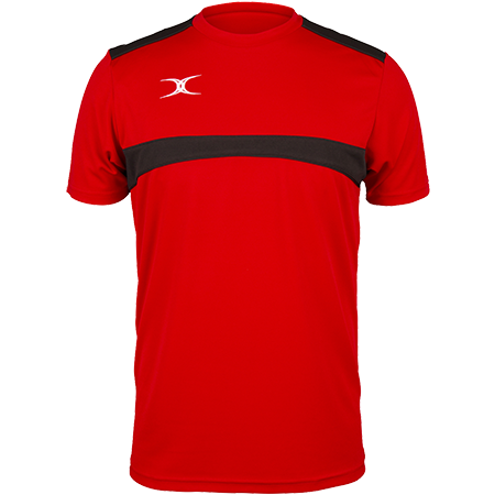 Gilbert Rugby Clothing Photon Mens Tee Red & Black Front