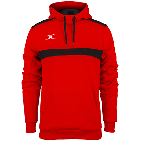 Gilbert Rugby Clothing Photon Mens Hoodie Red & Black Front