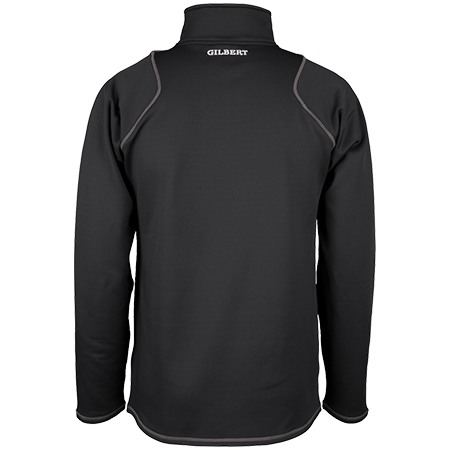 Gilbert Rugby Clothing Quest 2 Mens Quarter Zip Fleece Black, Back