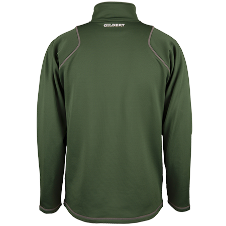 Gilbert Rugby Clothing Quest 2 Mens Quarter Zip Fleece Green, Back