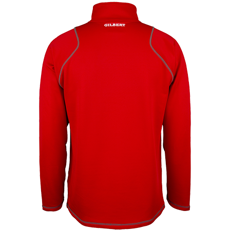 Gilbert Rugby Clothing Quest 2 Mens Quarter Zip Fleece Red, Back