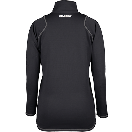 Gilbert Rugby Clothing Quest 2 Ladies Quarter Zip Fleece Ladies Black, Back