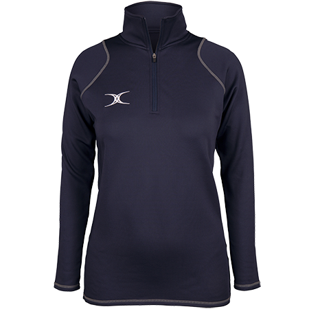 Gilbert Rugby Clothing Quest 2 Ladies Quarter Zip Fleece Ladies Dark Navy Front