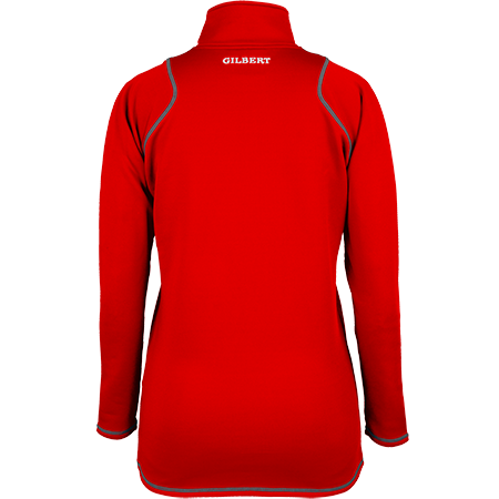 Gilbert Rugby Clothing Quest 2 Ladies Quarter Zip Fleece Ladies Red, Back