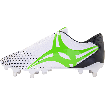 Gilbert Rugby Boots Shiro 6 Stud White Sz 8, Instep