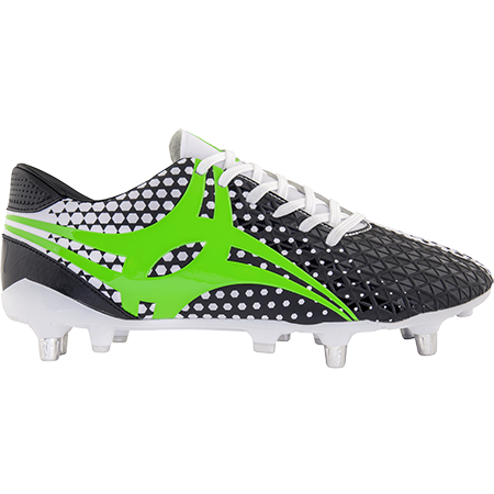 Gilbert Rugby Boots Shiro 6 Stud White Sz 8, Outstep