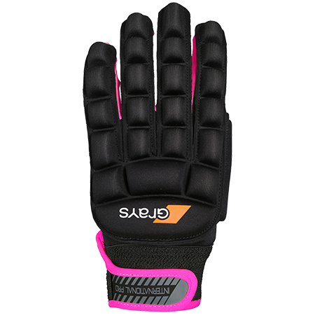 Grays Hockey Hockey Gloves Int Pro BLK NEON PNK LH XS BACK